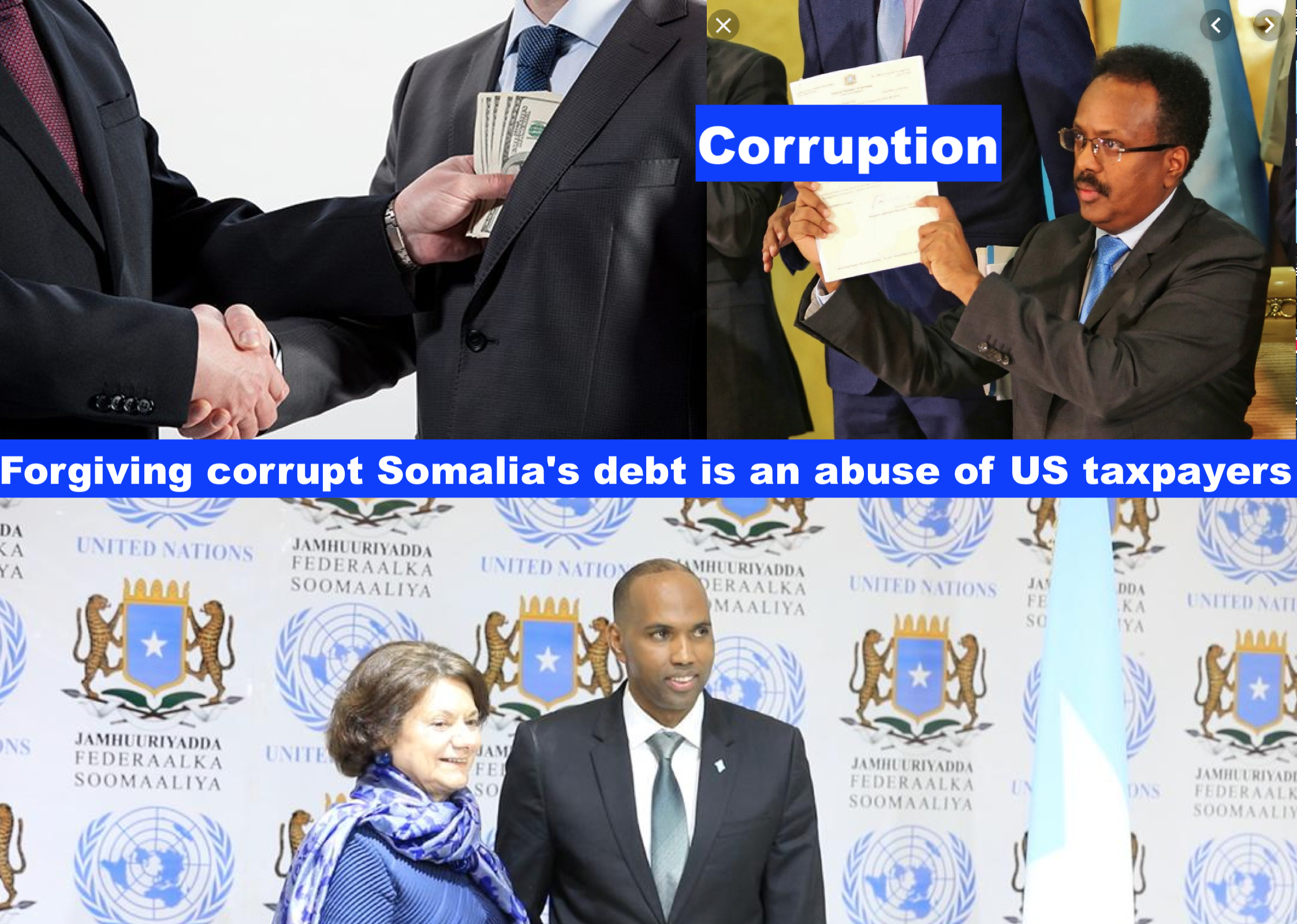 Forgiving corrupt Somalia's debt is an abuse of US taxpayers