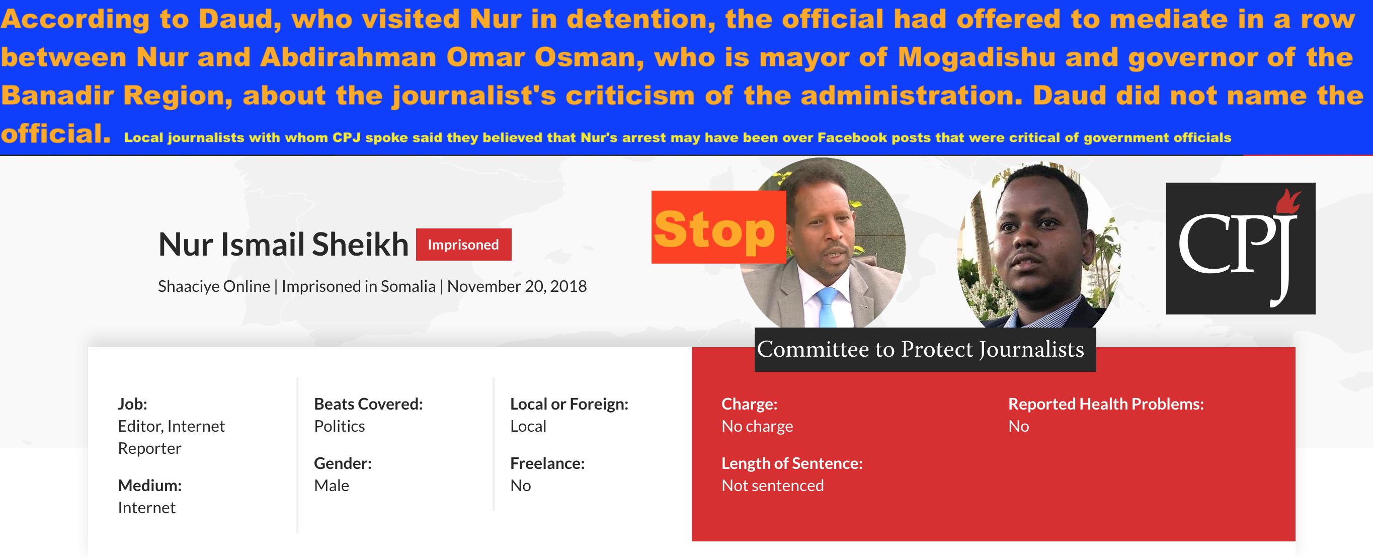 CPJ Report on the harassment & violations of media rights by Mogadishu Mayor Abdirahman Osman.