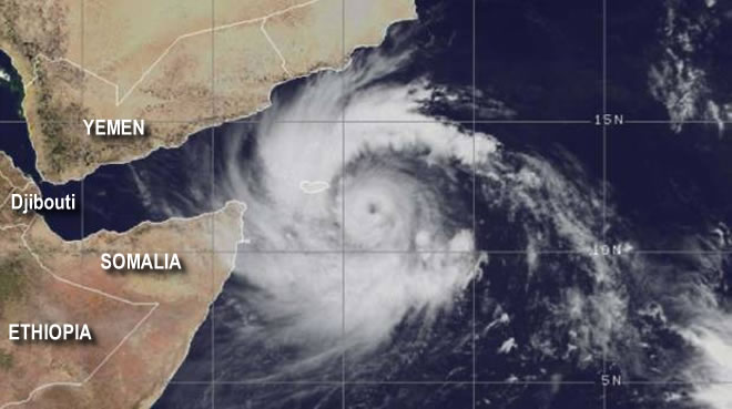 Powerful Cyclone Mekunu threatening the coast of Somalia's Puntland.