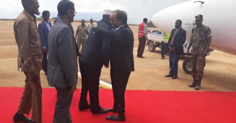 UPD chairman Hassan Sheikh Mohamud arrives in Kismayo