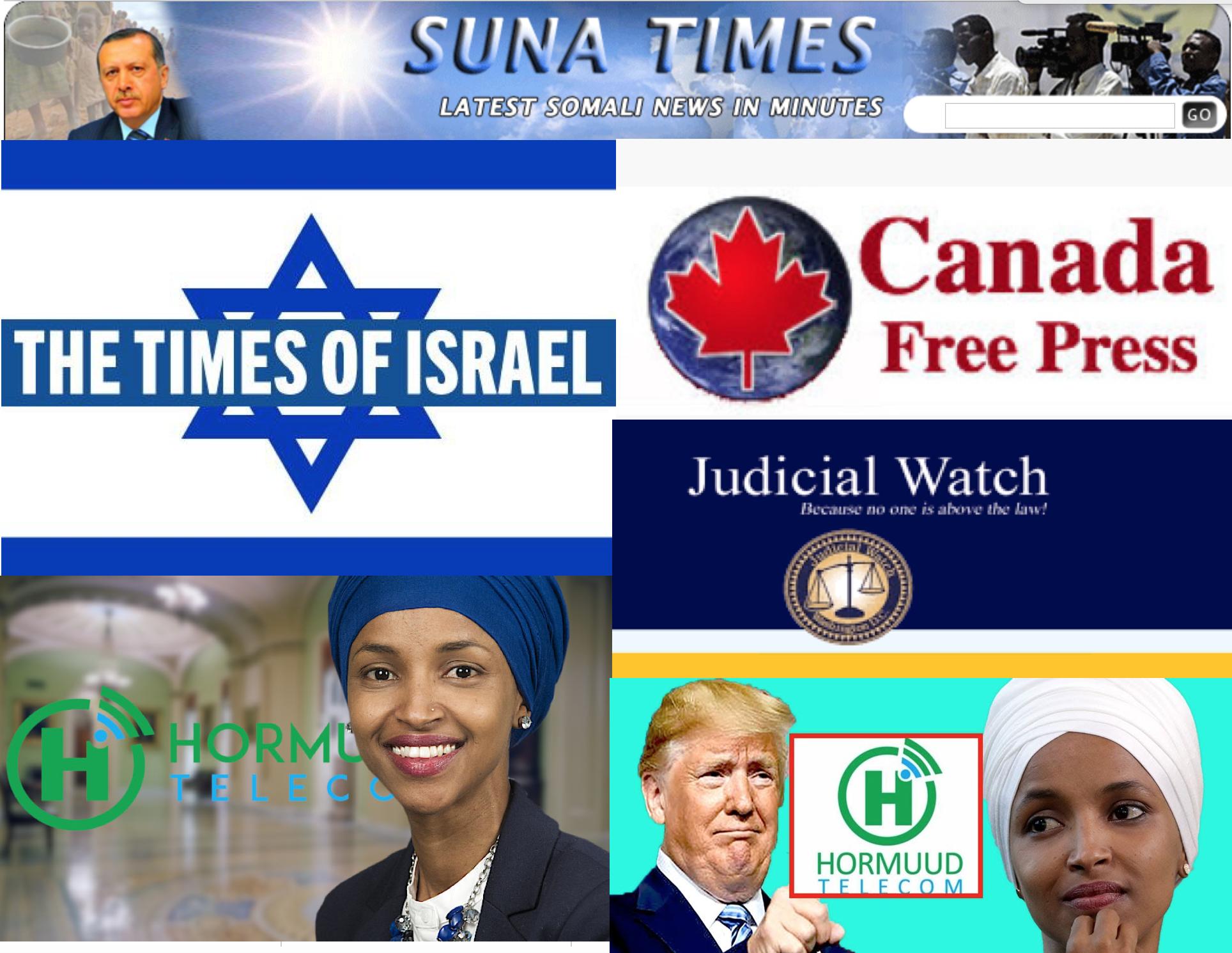 Hormuud Telecom oo Internetkeeda ka xanibtay booqashadda timesofIsrael.com ,Canadafreepress.com iyo Sunatimes.com .